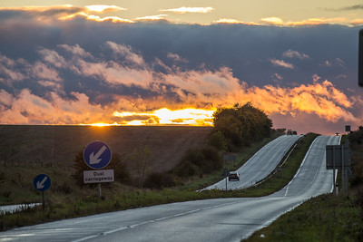 The A303 sunset - route to the West Country