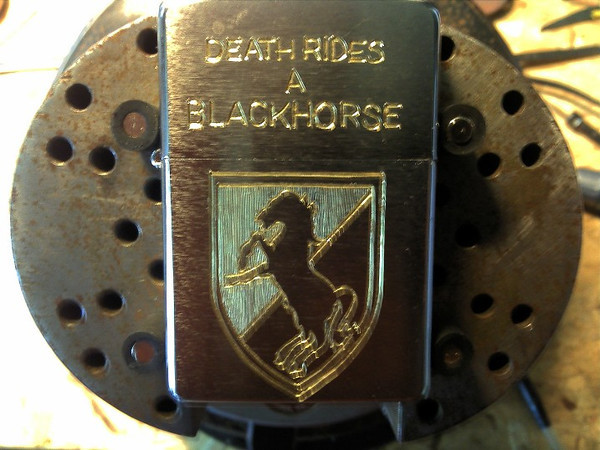 Zippo Lighter I engraved with the BlackHorse Unit patch and some requested lettering.