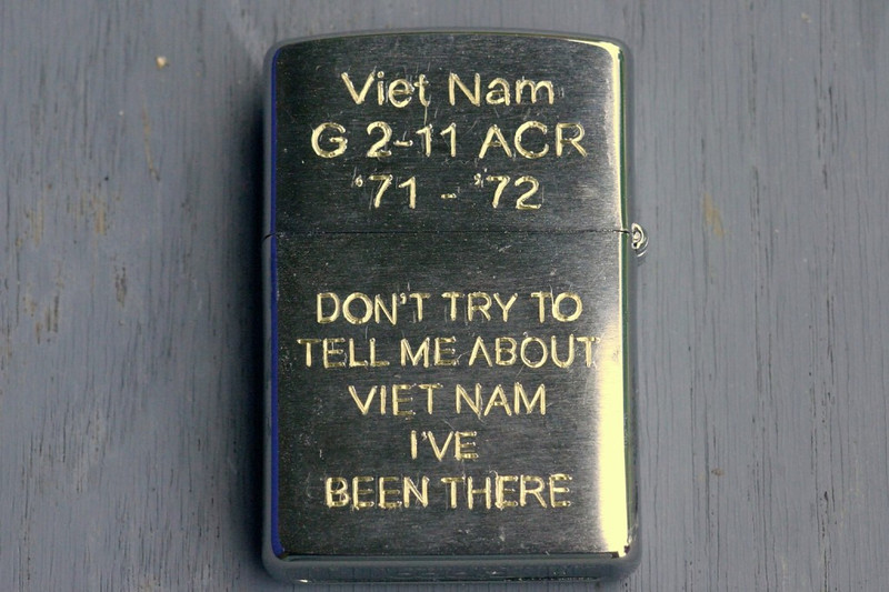 Canon macro daylight picture of the Viet Nam side of the completed lighter.