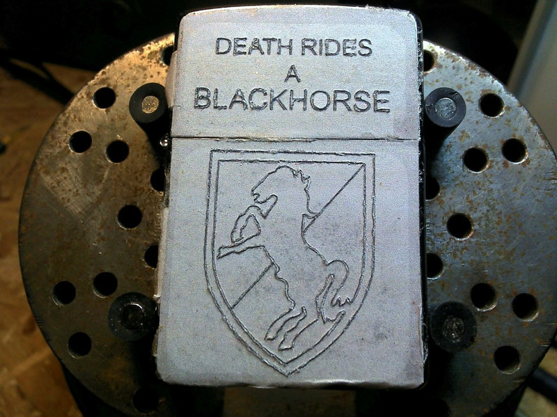 Pattern for the Blackhorse side, stippled through the paper to the lighter.