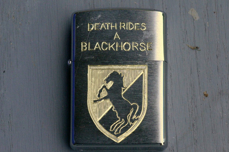 Canon macro daylight picture of the Blackhorse side of the completed lighter.