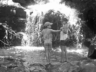 Two young girls having fun at the falls - 6/5/08