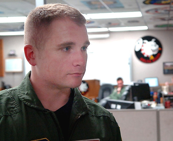 Ensign Ryan Bush talks about being the last Navy pilot to fly at Vance Air Force Base. (Staff Photo by BILLY HEFTON)