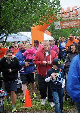 Garber residents, friends and family begin the 2nd annual MS Walk Saturday. According to LaDona Hayes, more than $8,000 was raised before the first step of the walkers, and she estimated that more than $15,000 would be donated before the end of the event. (Staff Photo by BONNIE VCULEK)
