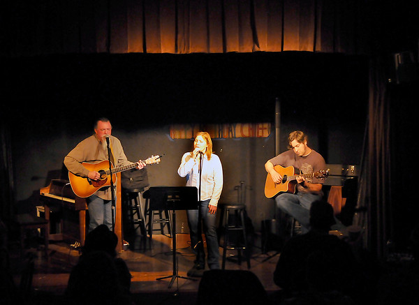 Stacey Sanders, Kay Sanders and Billy Beck perform Thursday during Turpin Tunes at the Turpin Theatre inside the Gaslight Theatre. (Staff Photo by BILLY HEFTON)