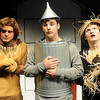 "Jake Scott (left), portrays the Cowardly Lion, Evan Chermack (center) plays the Tin Man while Michael Johnson (right) is the Scarecrow as they rehearse a scene from the Enid High School musical ""The Wiz"" Tuesday, April 23, 2013. The production, under the direction of Linda Outhier and Randy Johnson, is Thursday-Friday, April 25-26 in the Enid High School Auditorium. (Staff Photo by BONNIE VCULEK)"