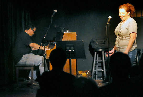 Amy Kelley and Steve Harwood perform Thursday during Turpin Tunes at the Turpin Theatre inside the Gaslight Theatre. (Staff Photo by BILLY HEFTON)