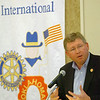 Congressman Frank Lucas gestures as he addresses the Enid Rotary Club Monday at the Hiland Tower. (Staff Photo by BILLY HEFTON)