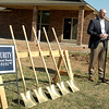 Brent Kisling, executive director of the Enid Regional Development Alliance, speaks during the groundbreaking ceremony at Chisholm Creek Village Tuesday, April 22, 2014. David Ritchie plans to build an additional 30 geothermal Energy Star homes in the residential area over the next two years. (Staff Photo by BONNIE VCULEK)