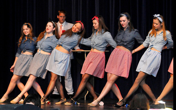 """Members of the Enid High School production of """"Guys and Doll"""" during a dress rehearsal Tuesday. (Staff Photo by BILLY HEFTON)"""