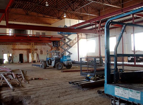 Construction continues inside the future Enid Public Schools' administrative services building Thursday, April 24, 2014. (Staff Photo by BONNIE VCULEK)