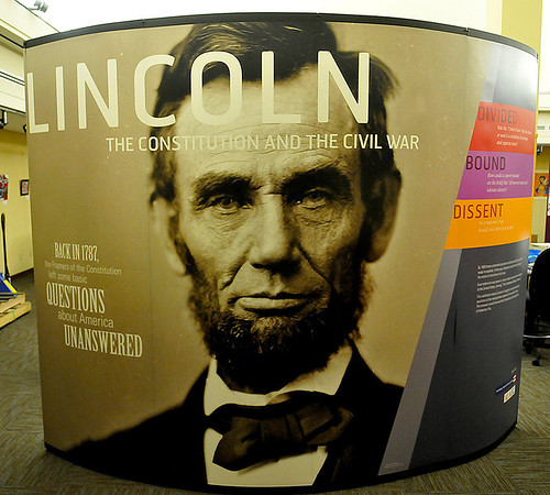"""A display of the exhibit, """"Lincoln, The constitution and the Civil War"""" at the Cherokee Strip Regional Heritage Center Wednesday. The exhibit will run April 3 - May 16. (Staff Photo by BILLY HEFTON)"""
