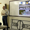 Mike Honigsberg, certified director of the Garfield County Emergency Management, leads a storm spotters class at the Garber fire department April 23. (Staff Photo by BILLY HEFTON)