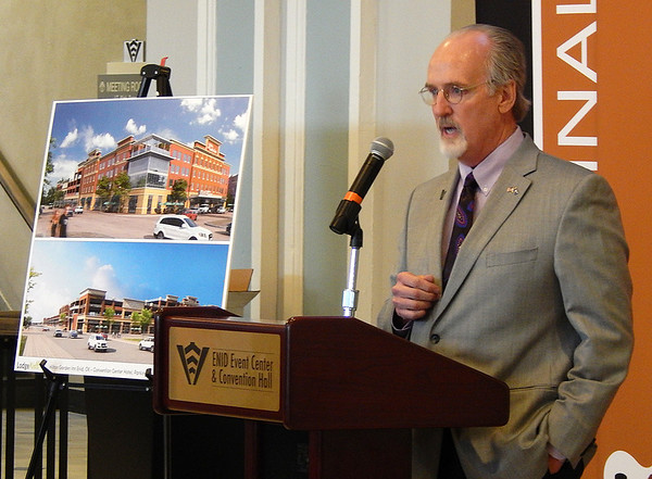 Ward 6 Commissioner Dr. David Vanhooser was one of several speakers at the Hilton Garden Inn Enid press conference Wednesday morning at the Enid Event Center. The 131-room four-story hotel will be built downtown. (Staff Photo by CASS RAINS)