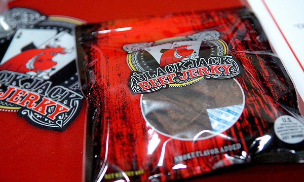 Blackjack Beef Jerky, a made-in Oklahoma product, is just one of the items available during the 39th annual Enid Home Show at the Chisholm Trail Expo Center Saturday, April 26, 2014. (Staff Photo by BONNIE VCULEK)