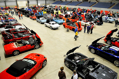 The floor of the Chilsholm Trail Expo Center was full of Corvette enthusiast Saturday during the Corvette Expo XXII. (Staff Photo by BILLY HEFTON)