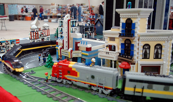 A Lego train speeds around the tracks during the Cherokee Strip Model Railroad Association Railfest at the Chisholm Trail Expo Center Saturday, April 19, 2014. Matthew Chandler, from Oklahoma City, assembled his Lego display in four hours for the one-day event. (Staff Photo by BONNIE VCULEK)