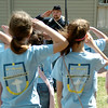 Cody Jolliff, education director at the Cherokee Strip Regional Heritage Center, teaches St. Mary's Episcopal School students from Edmond the proper way to salute during a Civil War demonstration at Humphrey Heritage Village Wednesday, April 23, 2014. (Staff Photo by BONNIE VCULEK)
