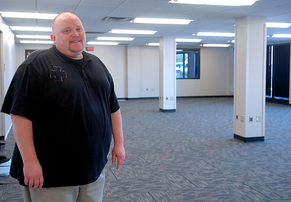 Jeff Herbel, IT director for Enid Public Schools, stands inside the new IT center Thursday, April 24, 2014. The facility will be finished around the middle of May. (Staff Photo by BONNIE VCULEK)