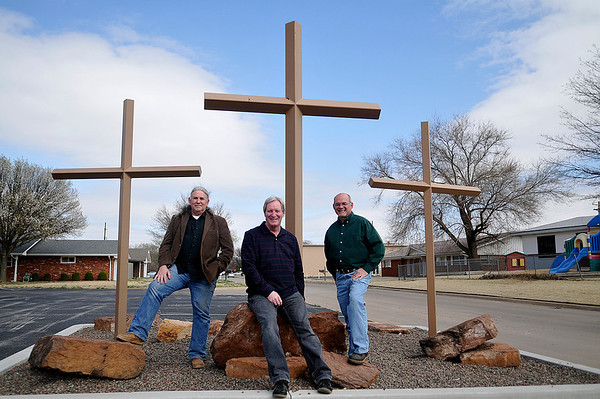 (Left to right) John Chambers, Carl Roberts, Senior Pastor, Wayne Bland, Associate Pastor, leadership of the yet to be named church being formed with the merger of Grace World Outreach Church and Harvest Time Church. (Staff Photo by BILLY HEFTON)