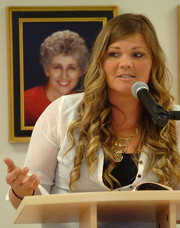 Rebecca Crawford, keynote speaker at the 25th Annual Crime Victims's Vigil, Tuesday April 12, 2016 at the YWCA. (Billy Hefton / Enid News & Eagle)
