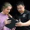 Khiem Nguyen works with Chisholm drama student, Sydney Ochs, Tuesday April 4, 2017. (Billy Hefton / Enid News & Eagle)