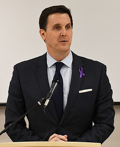 District Attorney, Mike Fields, during the 26th Annual Crime Victims' Vigil Tuesday April 4, 2017 at the YWCA Enid. (Billy Hefton / Enid News & Eagle)