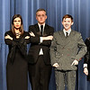 "(Left to right) Brigitte Goulart (Grandma Addams), Ashton Davis (Morticia Addams), Chandler Cravens (Lurch), Nolan Riggin (Gomez Addams), Baylee Fitzgerald (Wednesday Addams) and Kalina Collins (Fester Addams) of the Enid High production of ""The Addams Family"" Wednesday April 18, 2018. (Billy Hefton / Enid News & Eagle)"