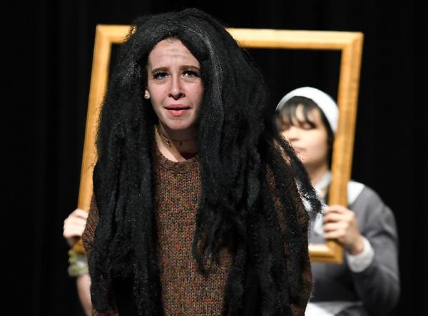 "Brigitte Goulart (Grandma Addams) rehearses during the Enid High production of ""The Addams Family"" Wednesday April 18, 2018. (Billy Hefton / Enid News & Eagle)"