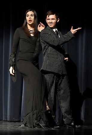 "Ashton Davis (Morticia Addams), Nolan Riggin (Gomez Addams) of the Enid High production of ""The Addams Family"" Wednesday April 18, 2018. (Billy Hefton / Enid News & Eagle)"