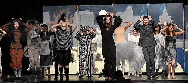 """Cast members rehearse the Enid High production of """"The Addams Family"""" Wednesday April 18, 2018. (Billy Hefton / Enid News & Eagle)"""