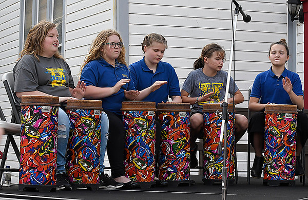 Members of the Hayes Elementary Drum Club perform during the Event sponsored by the Enid Public School Foundation Monday April 30, 2018 at Humphrey Heritage Village. (Billy Hefton / Enid News & Eagle)