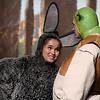 "Nolan Riggins ""Shrek"" and Kalina Collins ""Donkey"" rehearse the Enid High School production of ""Shrek the Musical"" Thursday April 18, 2019 at the Enid High auditorium. (Billy Hefton / Enid News & Eagle)"