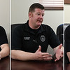 (left to right) Enid Detective Tanner Austin, Detective Derek Parks and Detective Jeff Roche during an interview Wednesday April 3, 2019 at the Enid Police Department. (Billy Hefton / Enid News & Eagle)