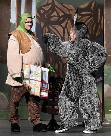 """Nolan Riggins """"Shrek"""" and Kalina Collins """"Donkey"""" rehearse the Enid High School production of """"Shrek the Musical"""" Thursday April 18, 2019 at the Enid High auditorium. (Billy Hefton / Enid News & Eagle)"""