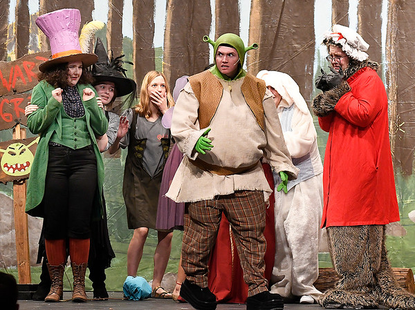 """Cast Members rehearse the Enid High School production of """"Shrek the Musical"""" Thursday April 18, 2019 at the Enid High auditorium. (Billy Hefton / Enid News & Eagle)"""