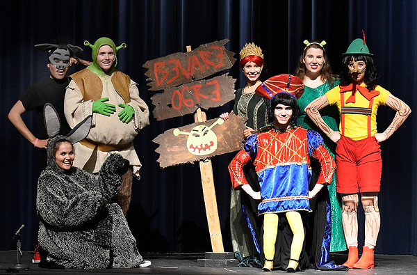 "Cast members of the Enid High School production of ""Shrek the Musical"" Jairo De Jesus, Kalina Collins, Nolan Riggins, Baylee Fitzgerald, Carol Jarrett, Brigitte Goulart and Btayden Bigheart. (Billy Hefton / Enid News & Eagle)"