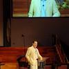 Columnist, Cal Thomas, addresses the audience Sunday evening at Emmanuel Baptist Church. (Staff Photo by BILLY HEFTON)