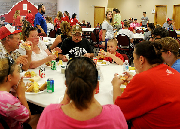 Families enjoy the Oklahoma Hearts for Adoption lunch at the First Baptist Church in Ringwood Saturday, August 31, 2013. Proceeds from the event provide financial assistance to adoptive parents and advocates for the fatherless. (Staff Photo by BONNIE VCULEK)