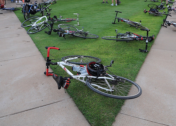 Bicycles fill the lawn of David Allen ballpark Saturday waiting for the start of the annual Tour de Tryke bike ride. (Staff Photo by BILLY HEFTON)