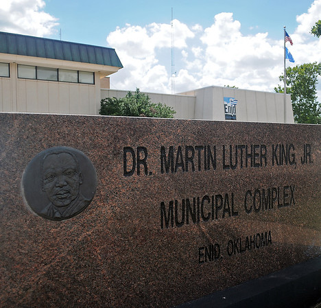 """The Dr. Martin Luther King, Jr. Municipal Complex on Owen K. Garriott includes an excerpt from Dr. King's """"I Have a Dream"""" speech. that was delivered by Dr. King 50 years ago today. (Staff Photo by BONNIE VCULEK)"""