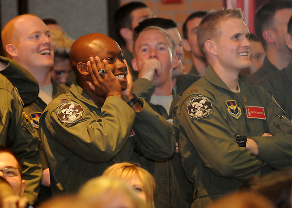 Vance Air Force Base Class 13-13 reacts as assignments are announced Friday, August 2, 2013. 2nd L. Peyton Jeppesen (right) will fly the A-10.(Staff Photo by BONNIE VCULEK)
