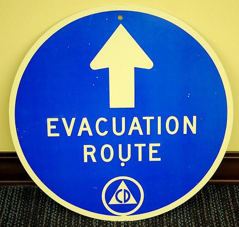 Civil Defense Evacuation Route Sign (Staff Photo by BONNIE VCULEK)