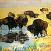 "Ruth Monro Augur's Mural No. 1 ""The Hunting Trail"" illustrates Indians stalking Buffalo before they possessed horses inside the west entrance to the Garfield County Courthouse. (Staff Photo by BONNIE VCULEK)"