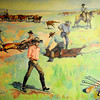"Ruth Monro Augur's Mural No. 6 ""The Rancher's Trail""  depicts the roping and branding of cattle. The mural is located at the top of the Garfield County Courthouse stairs in the courtroom lobby. (Staff Photo by BONNIE VCULEK)"
