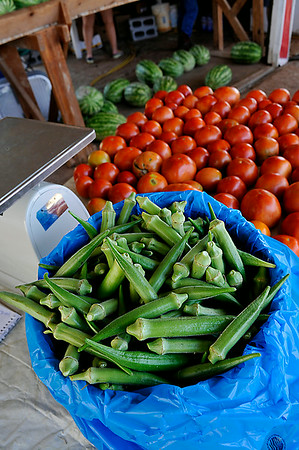 Sampling of items at the K&S Produce stand east of Ringwood Saturday August 9. (Staff Photo by BILLY HEFTON)