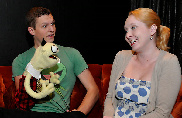 """Chandler Jackson and Chelsea Hunter rehearse the Turpin Theater production of """"Mr. Puppet goes to Television"""" August 7. (Staff Photo by BILLY HEFTON)"""