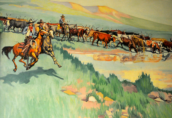 """Ruth Monro Augur's No. 3 mural """"The Cattle Trail"""" illustrates the cattle drives across the Cherokee Strip and the importance of the cook and his chuck wagon as more than 6,000,000 cattle crossed the strip. (Staff Photo by BONNIE VCULEK)"""