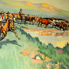 "Ruth Monro Augur's No. 3 mural ""The Cattle Trail"" illustrates the cattle drives across the Cherokee Strip and the importance of the cook and his chuck wagon as more than 6,000,000 cattle crossed the strip. (Staff Photo by BONNIE VCULEK)"