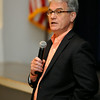 U.S. Senator Tom Coburn, M.D. answers a question during a town hall meeting Monday at Enid's Convention Hall. (Staff Photo by BILLY HEFTON)